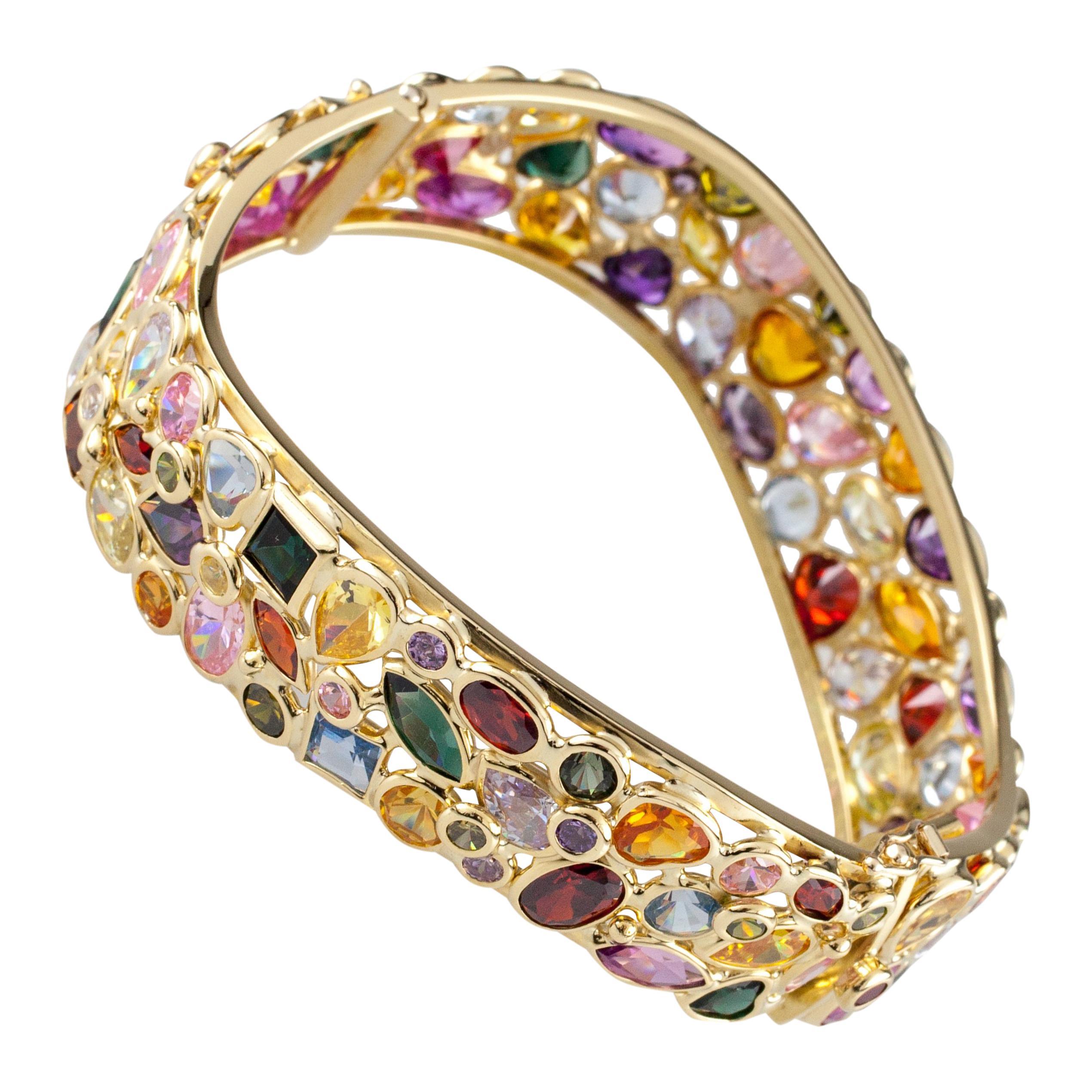 18 Karat Yellow Gold Multicolored Gemstone Bangle Bracelet