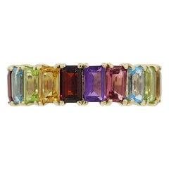 Multi-Color Emerald Cut Gemstone Band