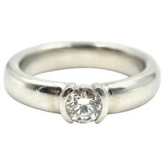 Tiffany & Co., Platinum Solitaire 0.31 Carat Round Diamond Band