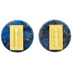 Janis Kerman, 18 Karat Gold, Diamond and Lapis Lazuli Disk Earrings