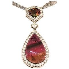 18 Karat White Gold, Rainbow Tourmaline 25.40 Carat Diamonds 3.15 Carat Necklace