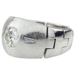 1.30 Carat Diamond 14 Karat White Gold Men's Solitaire Flex Ring