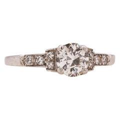 Vintage Engagement Ring Platinum Art Deco 0.65 Carat OEC G-VS2, circa 1930s