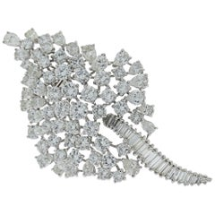 Platinum Diamond Leaf Design Brooch