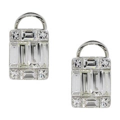 Baguette and Princess Cut Diamond Mosaic Earrings