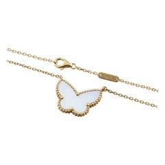 Van Cleef & Arpels 18 Karat Yellow Gold Lucky Alhambra Butterfly Necklace