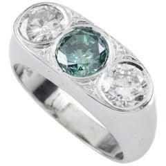 1.00 Carat Blue Diamond 14 Karat White Gold Three-Diamond Ring