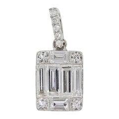 Baguette, Round and Princess Cut Diamond Mosaic Pendant
