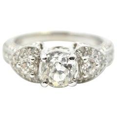 14 Karat White Gold and 0.91 Carat European Diamond Ring