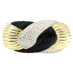 18 Karat Diamond and Onyx Fluted Wide Bangle Bracelet
