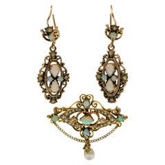 14K Yellow Gold & Genuine Opal Brooch Pin Pendant & Matching Dangle Earrings