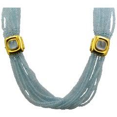 Mazza Company 18 Karat Gold Aquamarine Strand Cabochon Clasp Bracelet/Necklace