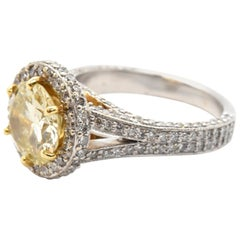 18k White and Yellow Gold Fancy Yellow 2.84ct Diamond with White 1.84cttw Diamon