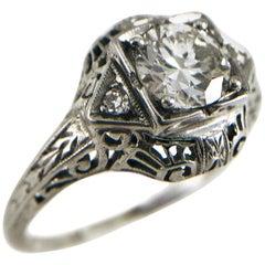 Art Deco 14 Karat Gold Three Diamond Ring