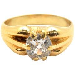 21 Karat Yellow Gold and 1.10 Carat Mine Cut Diamond Ring 8.17 Grams