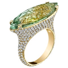 18 Karat Faceted Green Amethyst Diamond Cocktail Ring