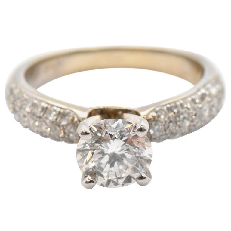 14 Karat White Gold and 1.05 Carat Round Diamond Ring with Pave Shank For Sale