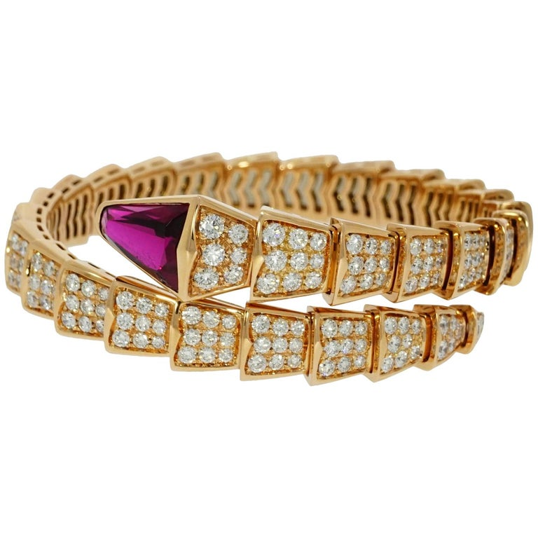 Bvlgari Serpenti Rose Gold Diamond Bracelet For Sale