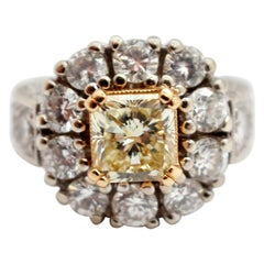 Platinum/18k Yellow Gold 1.99ct Fancy Yellow Radiant Diamond Ring with Accents