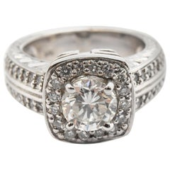 14 Karat White Gold and 0.78 Carat Round Diamond Ring with Accents