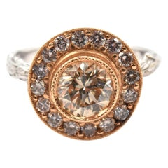 K. Brunini 18 Karat White/Rose Gold Diamond Halo Twig Ring