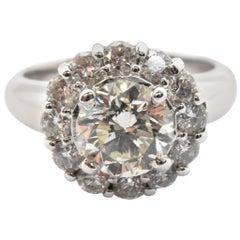 14 Karat White Gold and 1.76 Carat Round Diamond Halo Ring 0.99 Carat