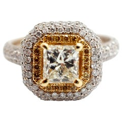 18 Karat Two-Tone White/Yellow Gold and 1.22 Carat Princess Diamond Ring