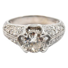 14 Karat White Gold and 1.38 Carat Round Diamond Ring with 0.75 Carat Accents