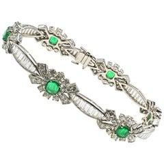 1960s Emerald Platinum Diamond Bracelet