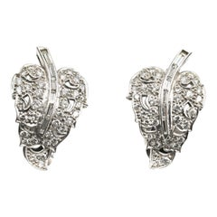1950s Diamond Platinum Leaf Earrings