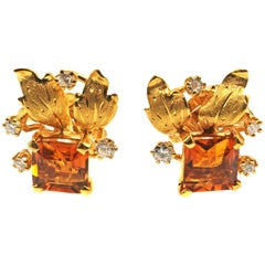 Madeira Citrine Diamond 18 Karat Gold 1950s Earrings