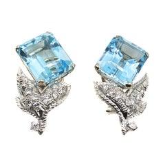 Aquamarine and Diamond 18 Karat White Gold Earrings