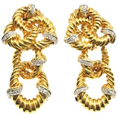 1980S Braided 18 Karat Gold Diamond Pendant Earrings
