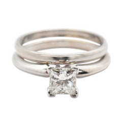 14 Karat White Gold and 0.75 Carat Solitaire Diamond Wedding Set