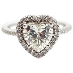 18 Karat White Gold and 1.51 Carat Heart Shaped Diamond