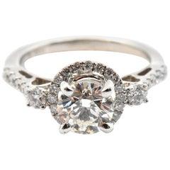 18 Karat White Gold and 1.02 Carat Round Diamond Halo Ring