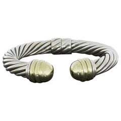 David Yurman Cable Classics Cuff Bracelet with Gold Dome End Caps