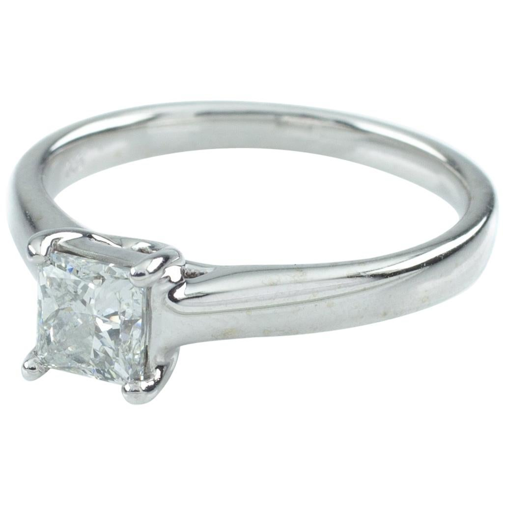 0.75 ct Princess-Cut Diamond Solitaire 14k White Gold Ring Size 7, IGI Cert