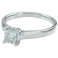0.75 ct Princess-Cut Diamond Solitaire 14k White Gold Ring Size 7, IGI Cert