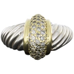 David Yurman Thoroughbred Gold and Silver Pave Diamond Cable Band Ring