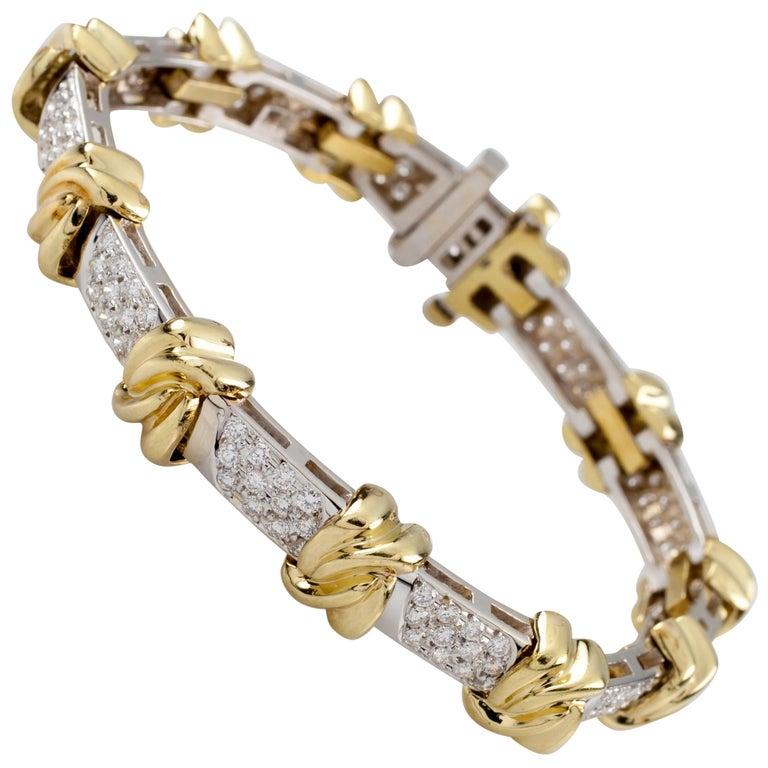 4 00 Carat Diamond Knot Station 18 Karat White and Yellow Gold 2-Tone  Bracelet