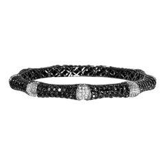 Diamond Black and White Bangle Total 15.10 Carat Diamonds in Stock