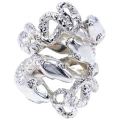 Snake Ring White Diamond Silver J Dauphin