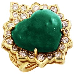 Stambolian Heart Shape Cabochon Colombian Emerald Yellow Gold and Diamond Ring