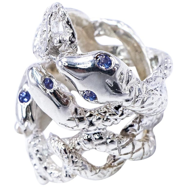Four Head Snake Ring Tanzanite Silver J DAUPHIN For Sale