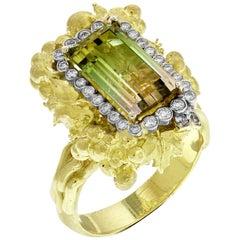 Stambolian Bicolor Tourmaline Yellow Gold and Diamond Ring
