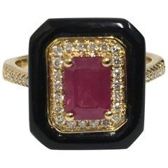 Ruby Diamond and Onyx Ring