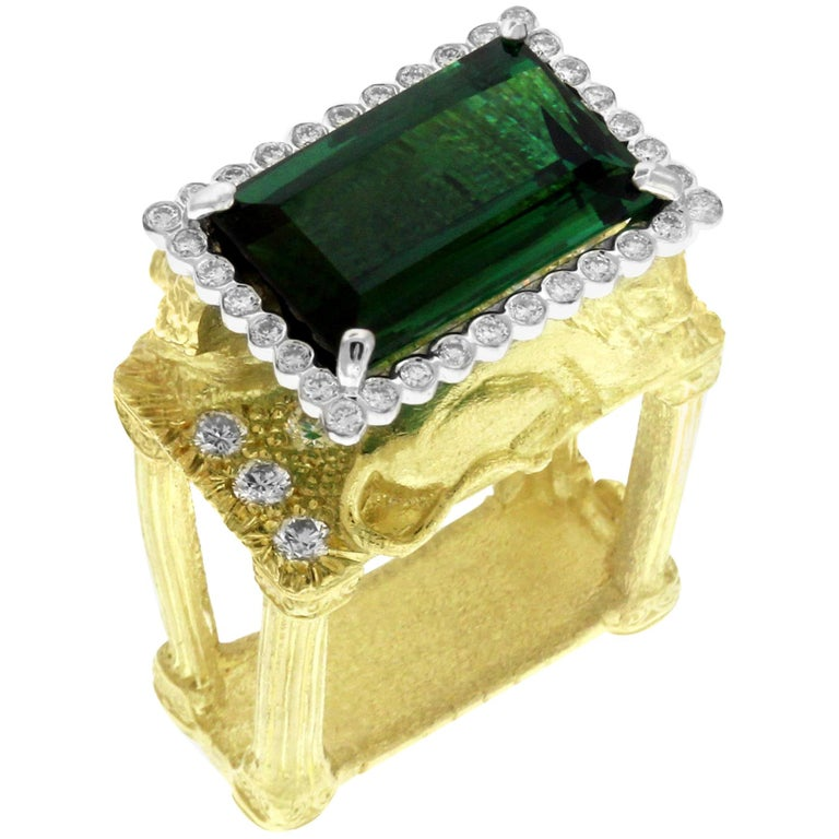 Green Tourmaline and Diamond Lion Cocktail Ring Yellow Gold Stambolian For Sale