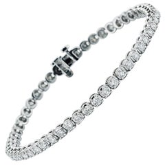 Diamond Line Tennis Bracelet, 4.24 Carat Total in 14 Karat White Gold