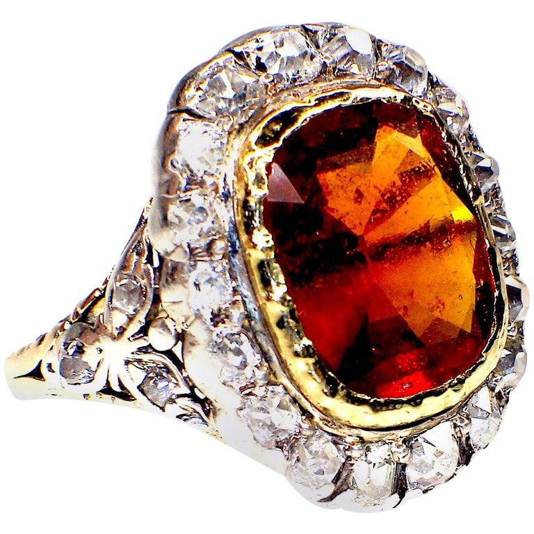 GEMOLITHOS Antique Mandarin-Spessartite Granet & Diamond Ring, Mid-19th Century For Sale